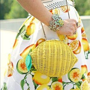 Kate Spade Lemon Wicker Straw Crossbody